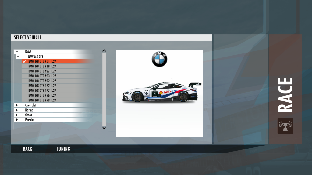 Uninstalling the M1 Endurance Car Content on rFactor2
